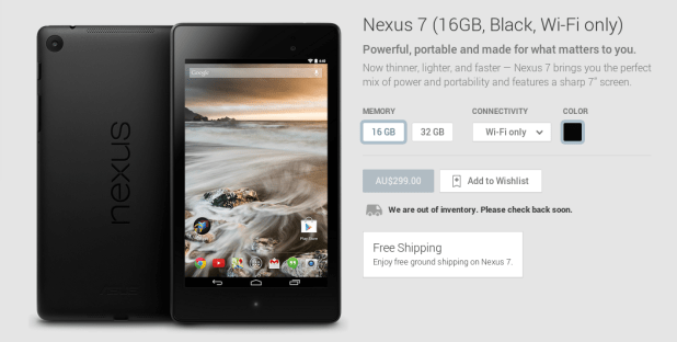 Nexus 7 out of stock