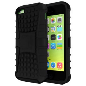 Rugged Dual Layer Tough Case w/ Kickstand for iPhone 5c - Black