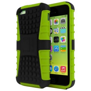 Rugged Dual Layer Tough Case w/ Kickstand for iPhone 5c - Green