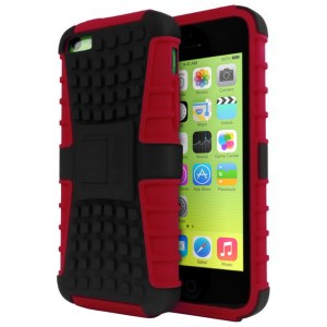 Rugged Dual Layer Tough Case w/ Kickstand for iPhone 5c - Red