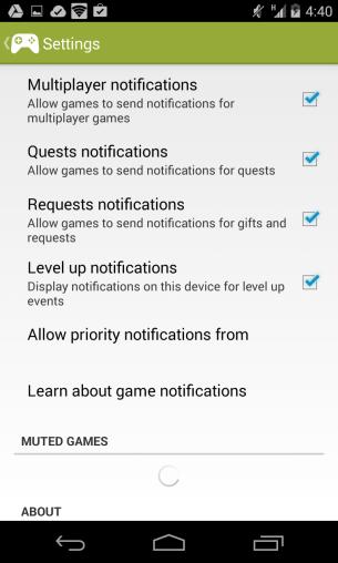 Google Play Games - Settings