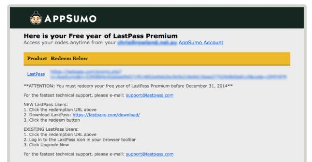 App Sumo Lastpass deal