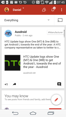 Google+ Android App - Hit the Cast button to start