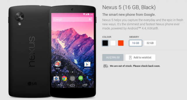 Nexus 5 Black Out of Stock