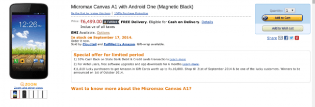 Amazon - India - Micromax Canvas A1