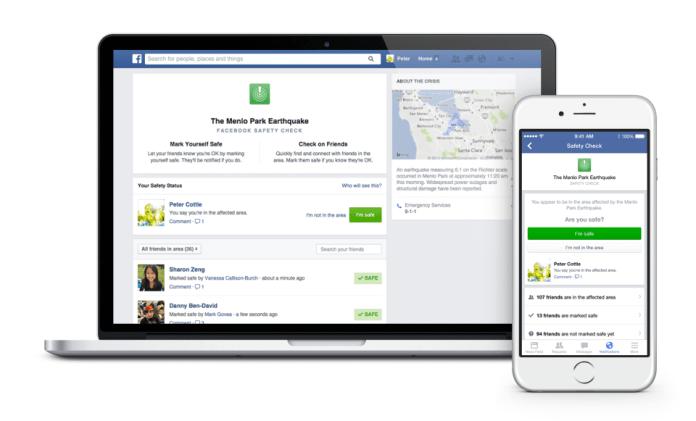 Facebook Safety Check Desktop and iOS