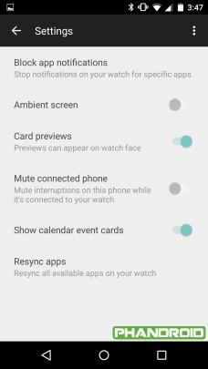 Android Wear Companion Leak - Settings