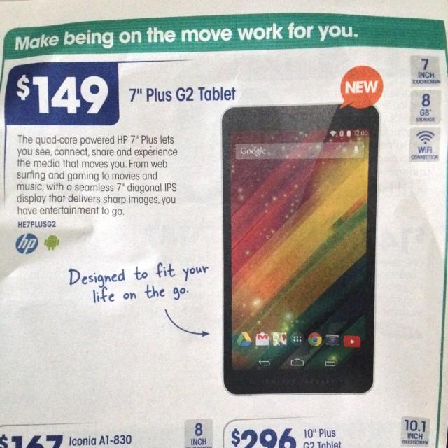 HP 7%22 Plus G2 Tablet - Officeworks Nov 2014 catalogue