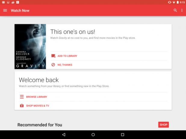 Nexus 9 - Movies (Free Content Offer 1)