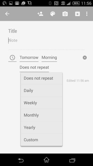 Reminder options