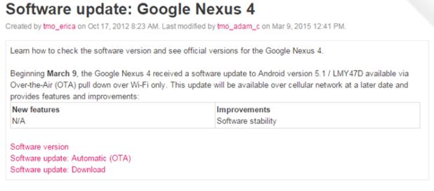 Nexus 4 - TMobile Support docs
