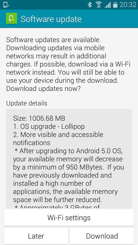 Note 4 Lollipop update