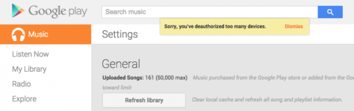 google play music deauthorise