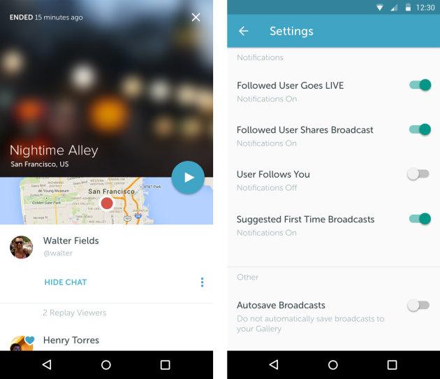 Periscope Android UI