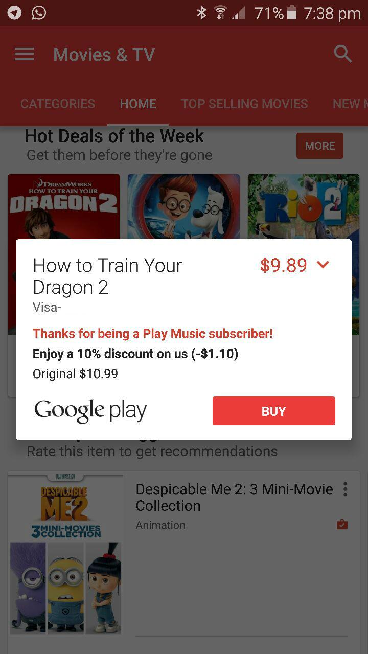 Google Play Discount - Movie