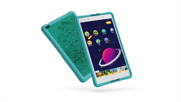 04_TAB4_8inch_HD_with_Kids_Bumper_Blue_Hero_Front_facing_right_White