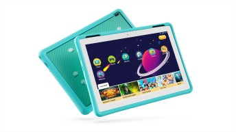 05_Tab4_HD_10inch_with_Kids_Bumper_Blue_Hero_Front_facing_right_Wifi_White