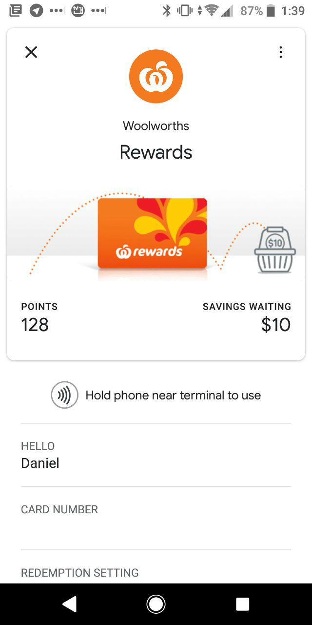 PSA: Add your Woolworths Rewards card to your Google Pay digital