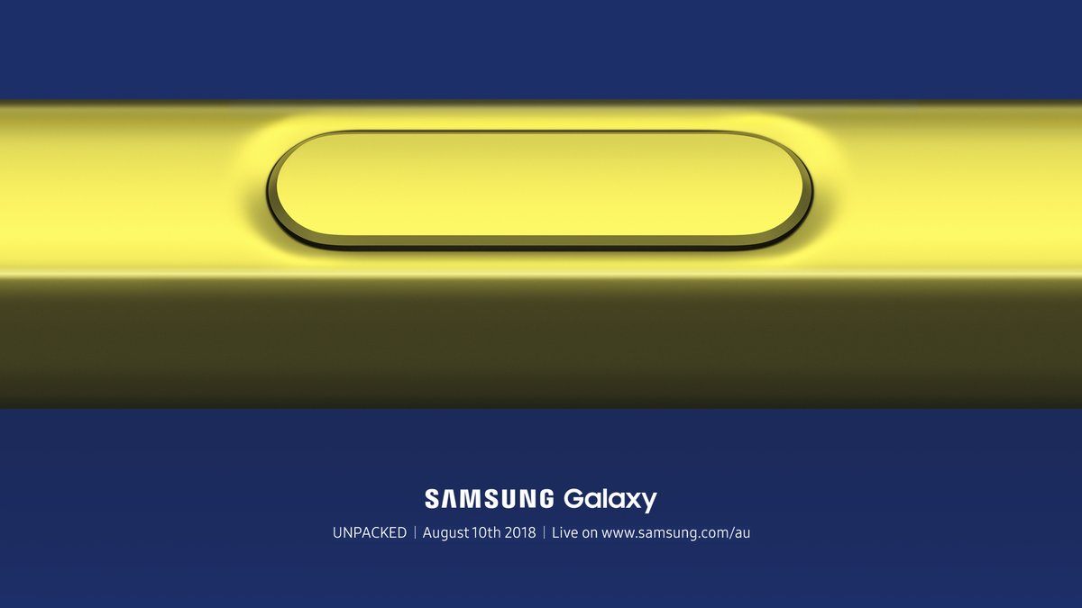 Hi-res render of Galaxy Note 9 surfaces: yellow stylus, blue phone
