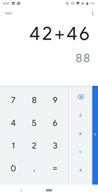 Version 7.5 of Google Calculator - screenshot 1