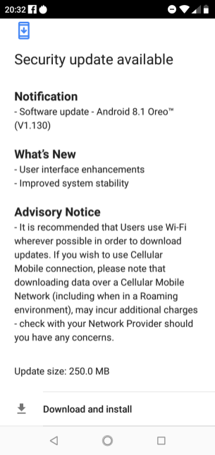 Software update - Android 8.1