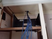 Cables into rack
