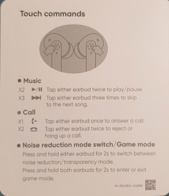 Buds Air Pro instructions leaflet