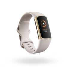 Product render of Fitbit Morgan, 3QTR view, in Lunar White and Soft Gold.
