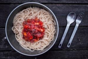 Nudeln mit Tomaten Paprika sauce