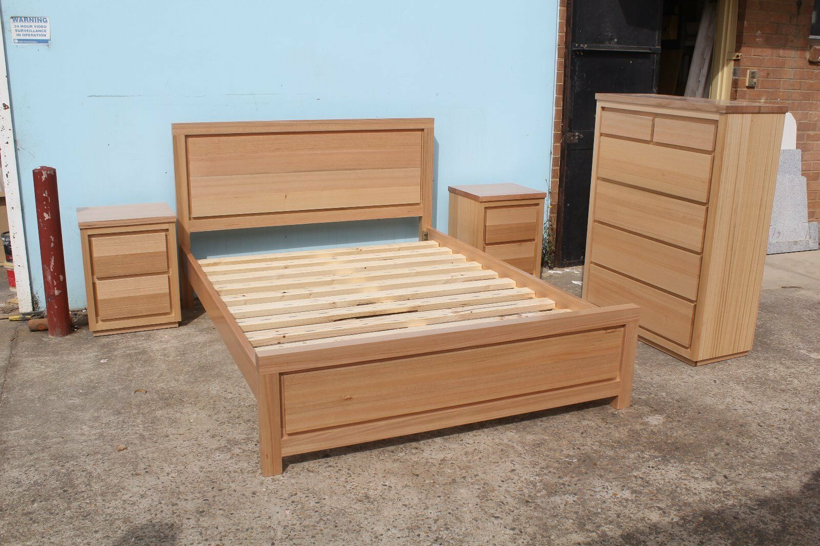 local made tasmanian oak hardwood timber bedroom suite with tallboy