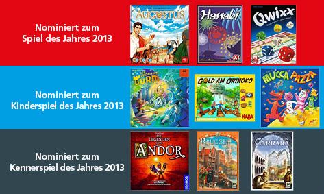 Die Cover der nominierten Spiele des Jahres.