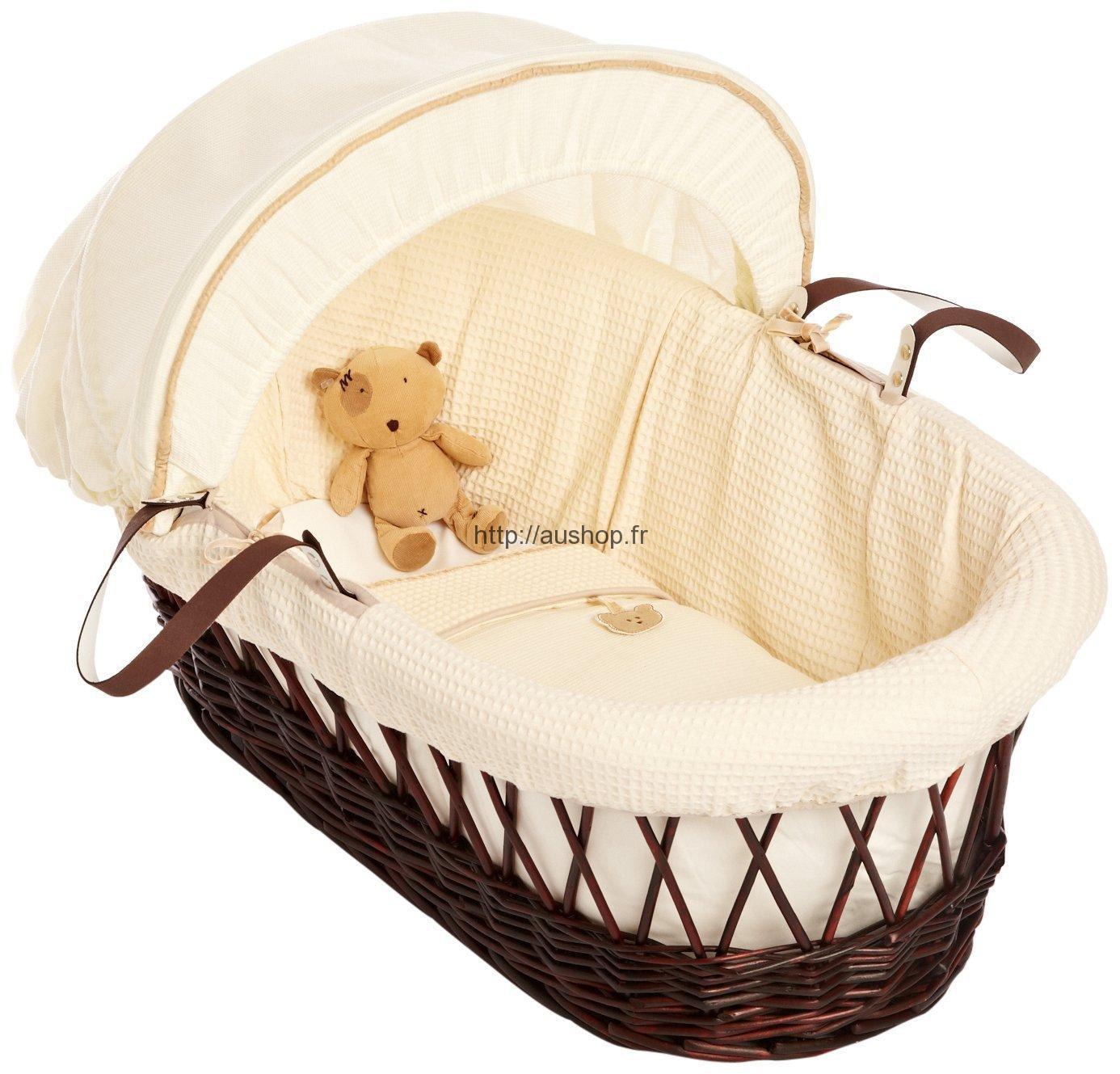 berceau b b en bois osier pas cher avec roues. Black Bedroom Furniture Sets. Home Design Ideas