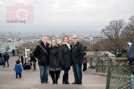 The 4 of us at the top of Montmartre, on the steps to Sacre Coeur