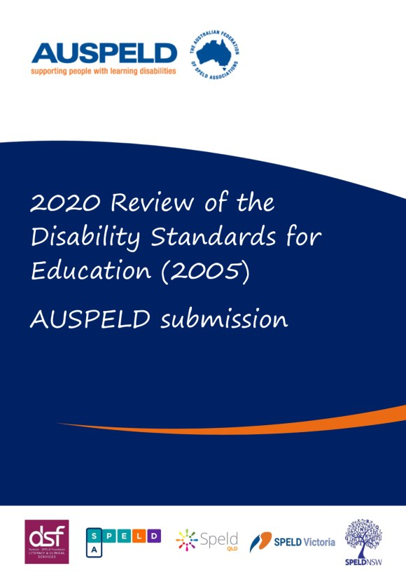 Cover Page of AUSPELD's Submission to the 2020 Review of the Disability Standards for Education