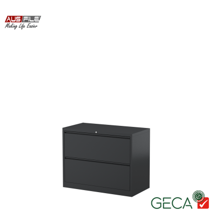 Ausfile 2 Drawer Lateral Filing Cabinet Graphite with Ausfile and GECA badges