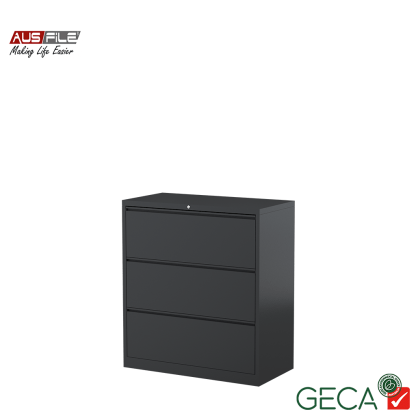 Ausfile 3 Drawer Lateral Filing Cabinet Graphite with Ausfile and GECA badges