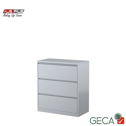 Ausfile 3 Drawer Lateral Filing Cabinet Silver with Ausfile and GECA badges