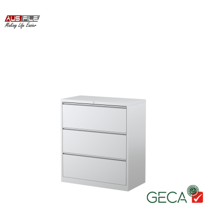 Ausfile 3 Drawer Lateral Filing Cabinet White with Ausfile and GECA badges