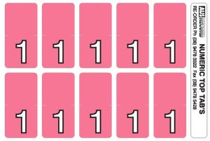 Top Tab Number labels. Sheet of 1