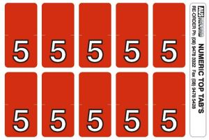Top Tab Number labels. Sheet of 5