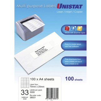 Unistat 38931 33UP laser rated multipurpose labels