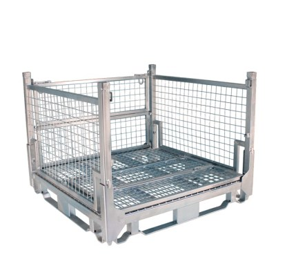 Pallet Cage Type A Single Medium Mesh Floor Zinc Plated one full side down