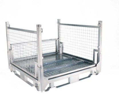 Pallet Cage Type A Single medium sheet steel floor zinc plated two full sides up, one side half up