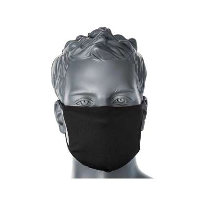 black anti micro face mask in situ front on