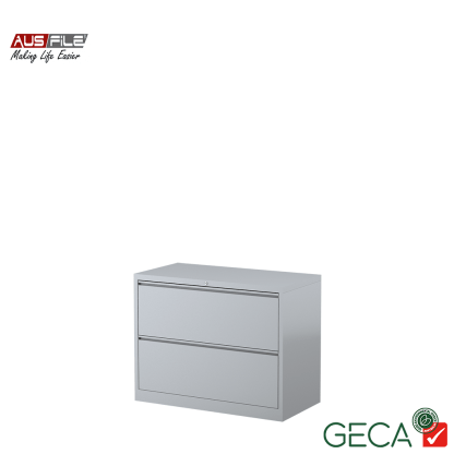 Ausfile 2 Drawer Lateral Filing Cabinet Silver with Ausfile and GECA badges
