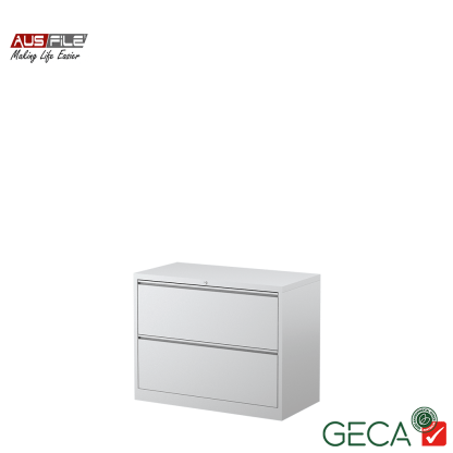 Ausfile 2 Drawer Lateral Filing Cabinet White with Ausfile and GECA badges