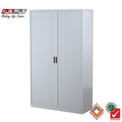 Ausfile tambour door cabinets silver grey 1980mm H x 1200mm W