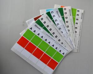 Dual colour alphabet labels. Full alphabet, set of 24 sheets