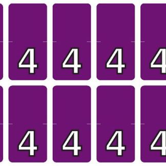 Top Tab Number labels. Sheet of 4