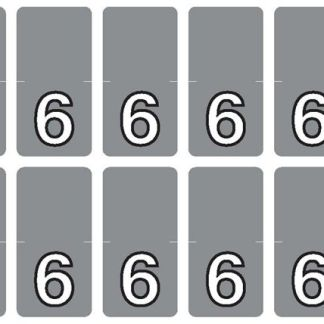 Top Tab Number labels. Sheet of 6